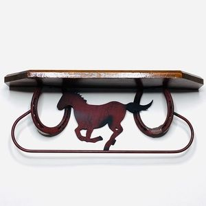 Vintage METAL HORSESHOE Shelf Horse Handmade 18""
